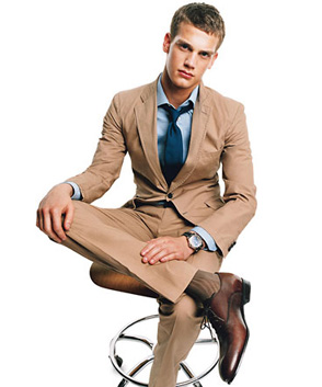 Tan Suit with Brown Shoes